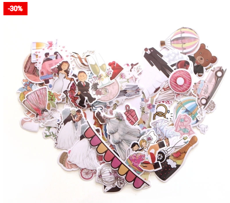 Wedding Stickers 68pcs Craft Decors